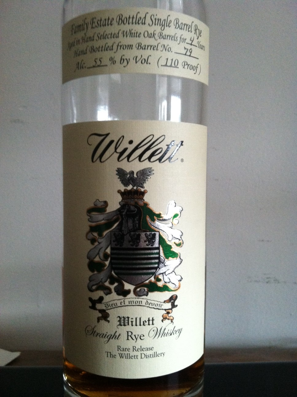 Willett Family Estate Bottled 4 Year Single Barrel Rye
