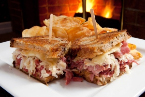 This is a picture of a Reuben sandwich because everyone already knows what a Maker's Mark bottle looks like.